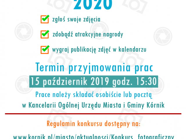 """Konkurs fotograficzny """"Kórnicki kalendarz 2020"""""""